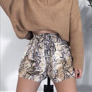 High Waisted Snake Print Shorts
